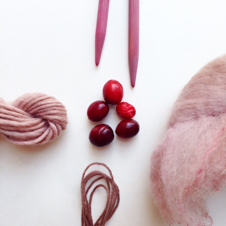 Wool naturally dyed with cranberries and raspberries