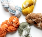 Plant dyed Garden Yarn by knittyvet.com - Superwash Merino