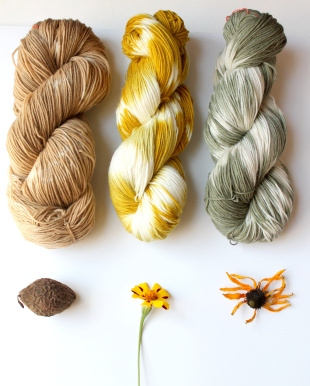 Garden Yarn colorways - Walnut, Marigold, Coneflower